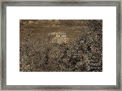 Framed Print featuring the photograph El Castillo Rising by Nigel Fletcher-Jones