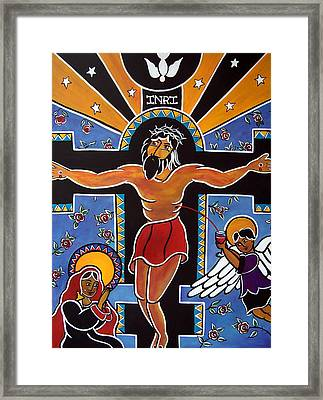 Framed Print featuring the painting El Cristo by Jan Oliver-Schultz