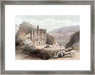 El Deir Petra 1839 Framed Print by Munir Alawi