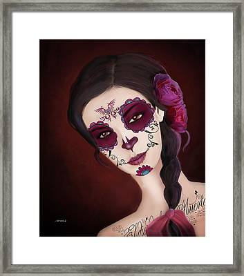 El Dia De Los Muertos Day Of The Dead Sugar Skull  Framed Print by Maggie Terlecki
