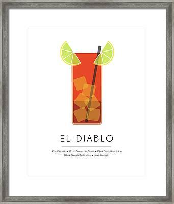 El Diablo Classic Cocktail Minimalist Print Framed Print
