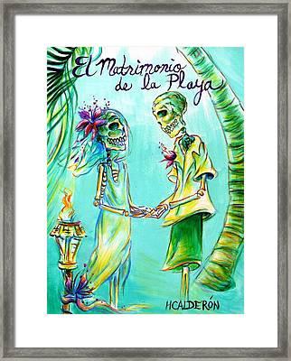 El Matrimonio De La Playa Framed Print by Heather Calderon