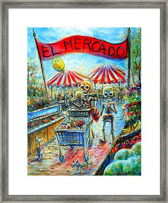 Framed Print featuring the painting El Mercado by Heather Calderon