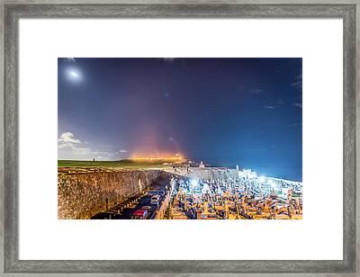 El Morro And New Moon Framed Print by Tim Sullivan