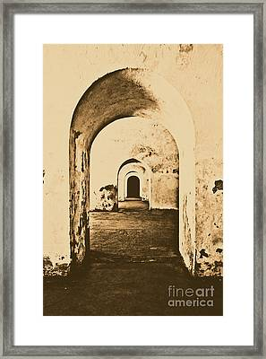 El Morro Fort Barracks Arched Doorways Vertical San Juan Puerto Rico Prints Rustic Framed Print by Shawn O'Brien