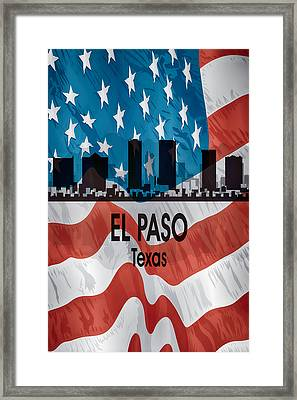 El Paso Tx American Flag Vertical Framed Print