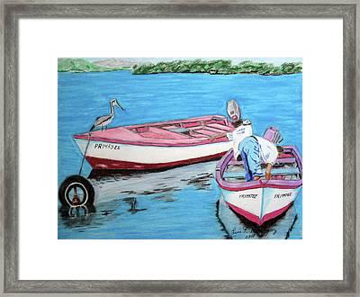 El Pescador De Guanica Framed Print by Luis F Rodriguez