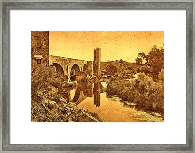 Framed Print featuring the photograph El Pont Viel by Nigel Fletcher-Jones