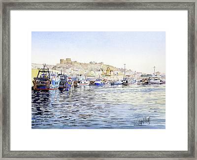 El Puerto Pesquero De Almeria Framed Print by Margaret Merry