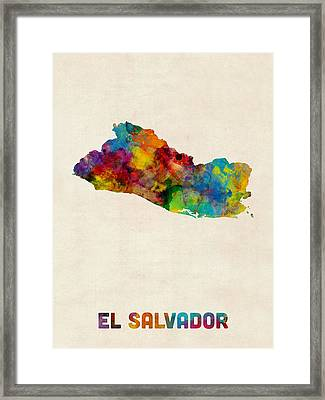 El Salvador Watercolor Map Framed Print by Michael Tompsett