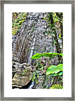 El Yuque Waterfall Framed Print by Carey Chen