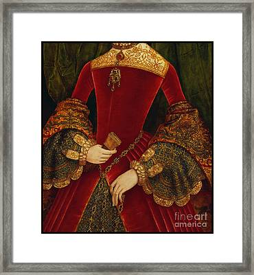 Elaborately Embroidered Historical Fashion Costume Detail Framed Print by Tina Lavoie