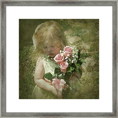 Elaina With Flowers Framed Print by Jim Pearson