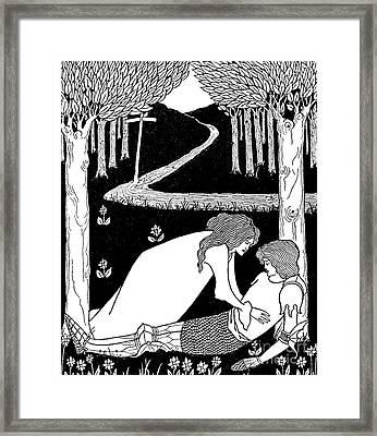Elaine Finds Lancelot In The Garden Framed Print