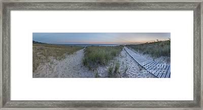 Elberta Beach Panorama Framed Print by Twenty Two North Photography