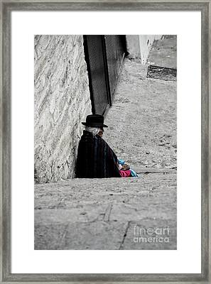 Elderly Beggar In Chordeleg Framed Print by Al Bourassa