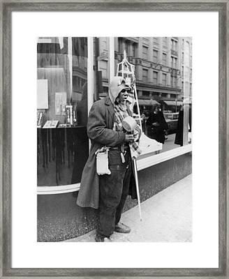 Elderly Blind Man Beggar Framed Print