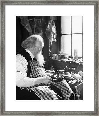 Elderly Cobbler At Work, C.1920-30s Framed Print