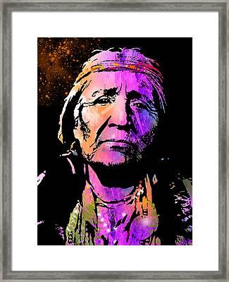 Elderly Hupa Woman Framed Print by Paul Sachtleben