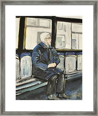 Elderly Lady On 107 Bus Montreal Framed Print