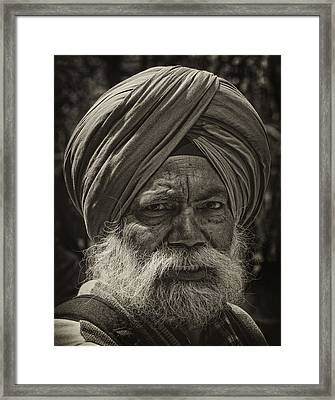 Elderly Sikh  Framed Print