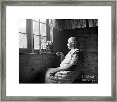 Elderly Woman At Window, C.1950s Framed Print by H. Armstrong Roberts/ClassicStock