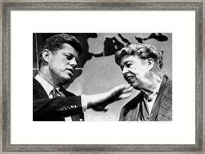 Eleanor Roosevelt And Sen. John Kennedy Framed Print by Everett