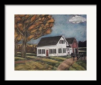 Maine Farmhouse Drawings Framed Prints