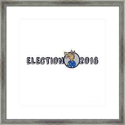 Election 2016 Democrat Donkey Mascot Cartoon Framed Print by Aloysius Patrimonio