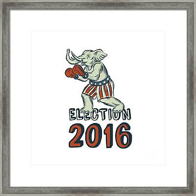 Election 2016 Republican Elephant Boxer Etching Framed Print