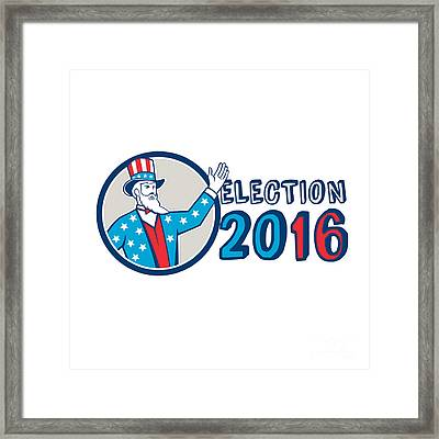 Election 2016 Uncle Sam Hand Up Circle Retro Framed Print by Aloysius Patrimonio