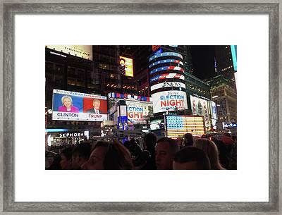 Election Night In Times Square 2016 Framed Print by Melinda Saminski
