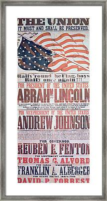 Electoral Campaign Poster For Abraham Lincoln, 1864 Framed Print by American School