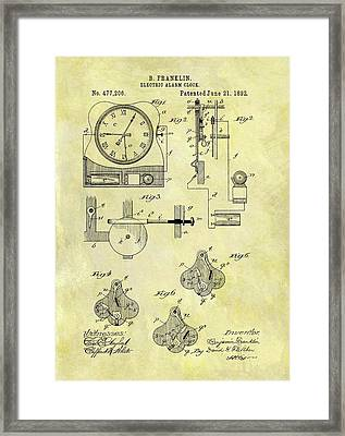 Electric Alarm Clock Patent Framed Print by Dan Sproul