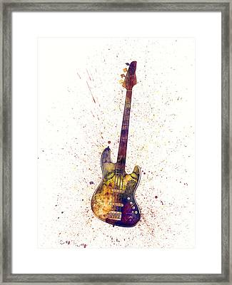 Electric Bass Guitar Abstract Watercolor Framed Print by Michael Tompsett