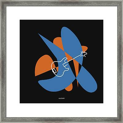 Electric Bass In Blue Framed Print