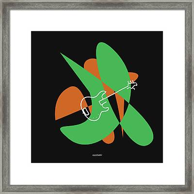 Electric Bass In Green Framed Print