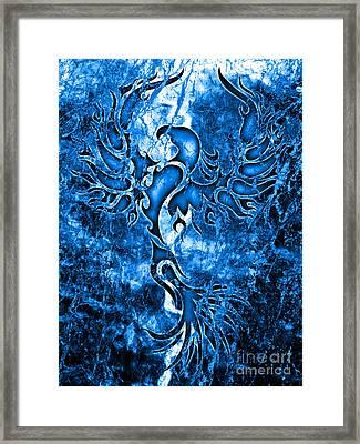 Electric Blue Phoenix Framed Print by Robert Ball