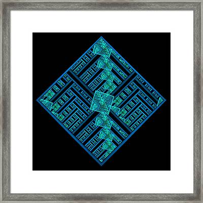 Electric Blue Squares Framed Print