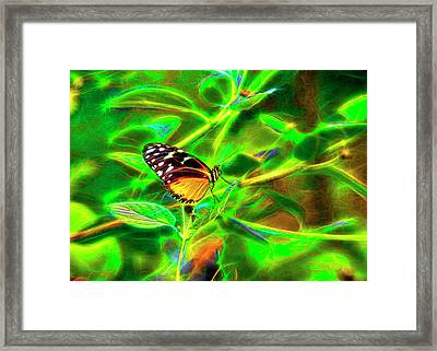 Framed Print featuring the digital art Electric Butterfly by James Steele
