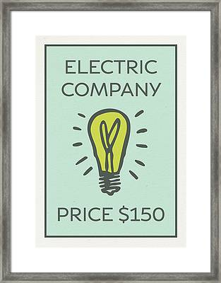 Electric Company Vintage Monopoly Board Game Theme Card Framed Print