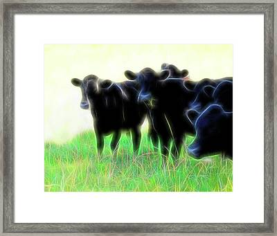 Electric Cows Framed Print by Ann Powell