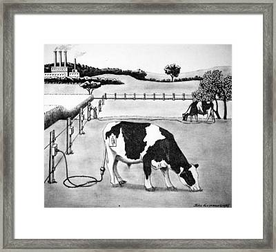 Electric Cows Framed Print by John Houseman