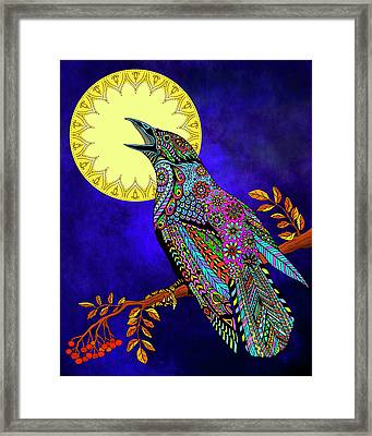 Electric Crow Framed Print by Tammy Wetzel