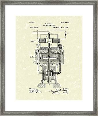 Electric Generator 1894 Patent Art Framed Print