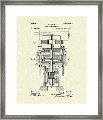 Electric Generator 1894 Patent Art Framed Print by Prior Art Design