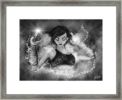 Electric Glitch - Black And White Fantasy Art Framed Print