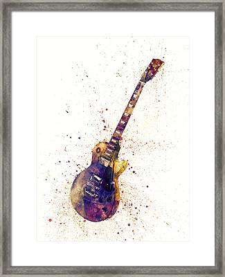 Electric Guitar Abstract Watercolor Framed Print by Michael Tompsett