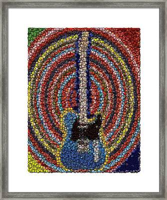 Framed Print featuring the mixed media Electric Guitar Bottle Cap Mosaic by Paul Van Scott