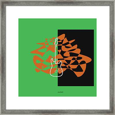 Electric Guitar In Green Framed Print by David Bridburg